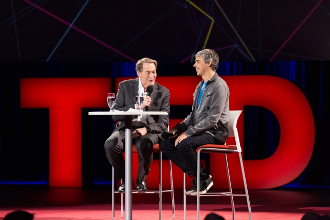 (L-R) Charlie Rose and Larry Page. Photo: James Duncan Davidson